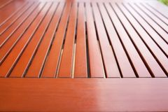 Wooden garden table Stock Photos