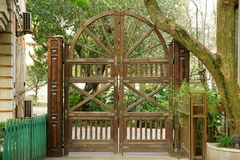 Wooden gate. This wooden gate looks very beautiful and creative Stock Images