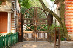Wooden gate. This wooden gate looks very beautiful and creative Stock Image