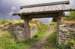 The wooden gate in the ancient Truvor`s settlement Stock Images