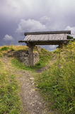 The wooden gate in the ancient Truvor`s settlement Royalty Free Stock Photography