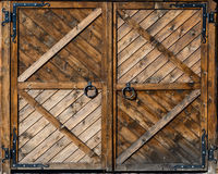 Wooden gate. Antique wooden gate with metal handle Royalty Free Stock Photos