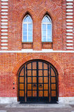 Wooden gate in `Bread House` at the museum-estate of Tsaritsyno, Moscow royalty free stock image