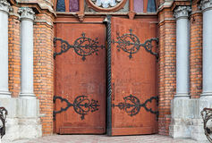 Wooden gate in catholic church Stock Image