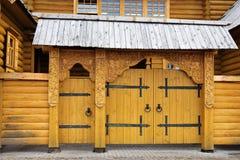 Wooden gate of City Craftsmen in Gorodets Stock Images