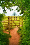 Wooden gate in countryside Royalty Free Stock Photography
