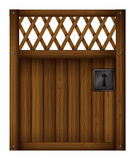 A wooden gate door. Illustration of a wooden gate door on a white background Stock Photo