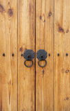 Wooden gate with door knocker chinese style vertical Stock Photography