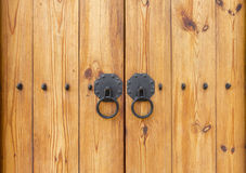 Wooden gate with door knocker chinese style Royalty Free Stock Photography