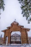 wooden gate entrance to the Orthodox church Royalty Free Stock Photography