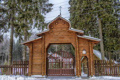 Wooden gate entrance to the Orthodox church Stock Photography