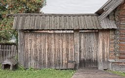 Wooden gate,. Fence and doghouse stock photos