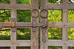 Wooden gate among the foliage in the park Stock Photography