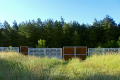 Wooden Gate On Green Forest Background. Beautiful Stock Images