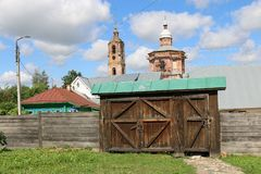 The wooden gate of the house of the merchant Agapov in Suzdal. The Museum of wooden architecture in Suzdal. The wooden gate of the house of the merchant Agapov Royalty Free Stock Images