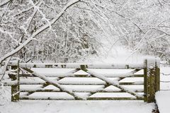 Wooden Gate In Snow Stock Image