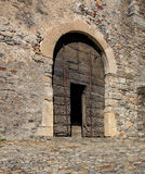 Wooden gate inside Castelgrande fortress in Bellinzona. Wooden gate inside medieval fortress Castelgrande in Bellinzona, Switzerland. The Castelgrande fortress Royalty Free Stock Photography