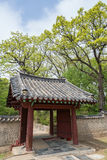 Wooden gate at the Jongmyo Shrine in Seoul Royalty Free Stock Photos
