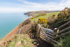 Wooden gate leading onto the Cardigan Bay Coastal Path. Penbryn Royalty Free Stock Images