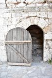 Wooden gate of medieval building royalty free stock photos