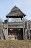 Wooden gate. Medieval wooden gate in sunny day Royalty Free Stock Images