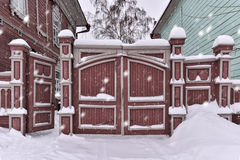 Wooden gate of a residential building of the last century Royalty Free Stock Photography