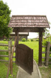 Wooden gate. Timber gate to rural house Stock Image