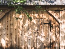 Wooden gate to the farm. Near the village in Poland stock photography