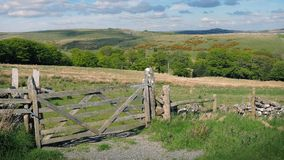 Wooden Gate To Field In The Countryside stock footage