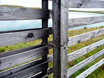 Wooden gates. Lake beyond the gate. royalty free stock images