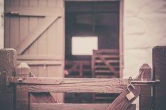 Wooden gates to the farm stock image