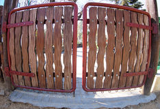 Wooden gates. With wide angle fisheye lens view royalty free stock images