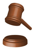 Wooden gavel. Illustration of realistic 3d wooden gavel in perspective royalty free illustration