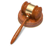 Wooden gavel. Isolated on white 3D illustration Royalty Free Stock Photos
