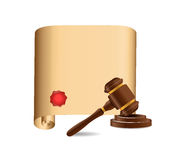 Wooden gavel against old scroll illustration Royalty Free Stock Photo