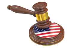 Wooden Gavel with American Flag Royalty Free Stock Photography
