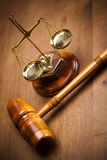 Wooden gavel barrister Royalty Free Stock Images