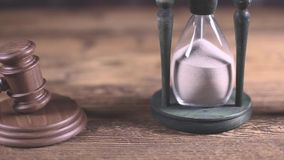Wooden gavel barrister, justice concept, legal system stock footage
