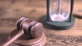 Wooden gavel barrister, justice concept, legal system stock video