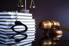 Wooden gavel barrister, justice concept, legal system Royalty Free Stock Photo
