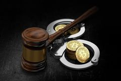 Wooden gavel and Bitcoin stacks in handcuffs. Possible scenario of global BTC prohibition concept. 3D rendering stock photo