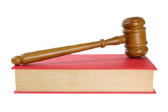 Wooden Gavel on Book Stock Photo