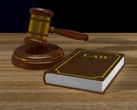 Wooden gavel and book on table. 3D illustration Royalty Free Stock Images