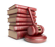 Wooden gavel with books. 3D Icon isolated Royalty Free Stock Images
