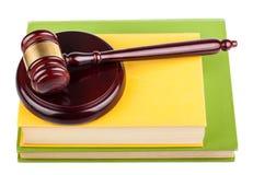 Wooden gavel on books Stock Photo