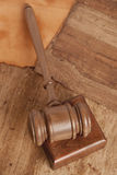 Wooden gavel and books Royalty Free Stock Image
