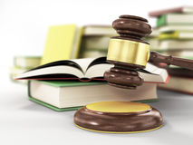 Wooden gavel and books on wooden table Royalty Free Stock Image