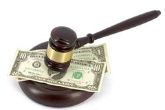 Wooden gavel and dollars Royalty Free Stock Photo