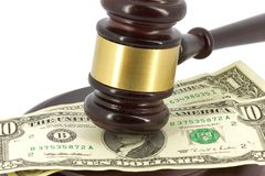Wooden gavel and dollars Royalty Free Stock Images