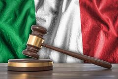 Wooden gavel and flag of Italy on background - law concept. 3D rendered illustration Stock Images
